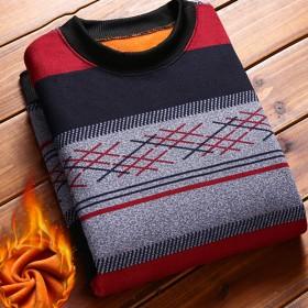 加绒长袖T恤针织衫保暖毛衣男条纹圆领针织打底衫