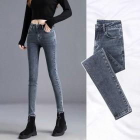 新款牛仔裤韩版学生高腰修身弹力黑色九分小脚裤长裤