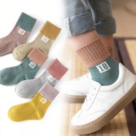 【五双装】秋冬季中厚款宝宝袜男童女童中筒袜学生袜1