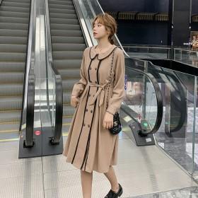 秋冬韩版时尚修身气质灯笼袖娃娃领收腰中长款连衣裙女
