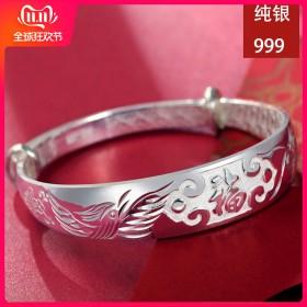 银手镯女士款送妈妈白银999足银镯子首饰品传统福字