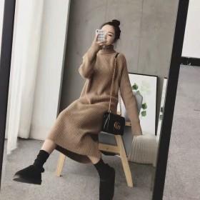2019新款女装针织连衣裙女秋冬装打底裙中长款毛衣