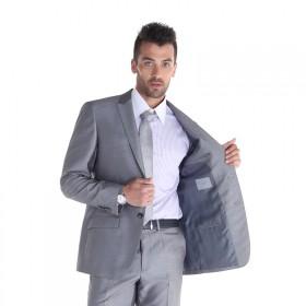 品牌潮男轻奢男西服套装两件套灰色