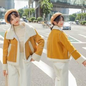2019秋冬新款韩版短款仿鹿皮绒羊羔毛棉衣女尚小个