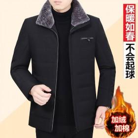 加绒加厚翻领棉衣冬季外套男中老年人男装棉服棉袄