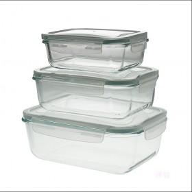 家用钢化玻璃密封保鲜碗简约方形保鲜盒饭盒便当盒三件