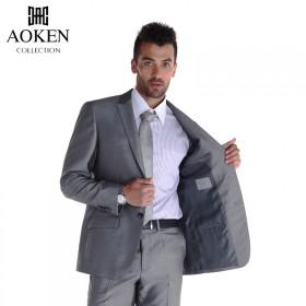 男品牌西服小西装上衣西裤两件套韩版修身灰色