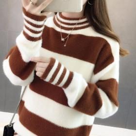 仿水貂半高领加绒加厚保暖套头毛衣女韩版条纹打底衫