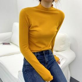 韩版内搭紧身上衣套头半高领毛衣长袖针织打底衫女