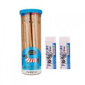 HB/2B铅笔桶装超 值50支+橡皮
