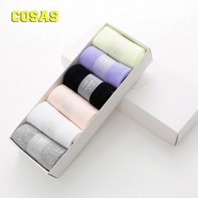 COSAS袜子女中筒袜棉袜100全棉日系可爱袜子女