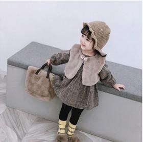 韩版女童连衣裙秋冬两件套经典格子呢子连衣裙加绒圆领