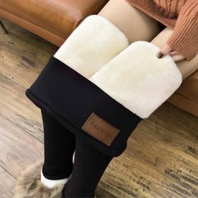 新款羊羔绒打底裤时尚百搭加绒小脚裤高腰弹力保暖棉裤