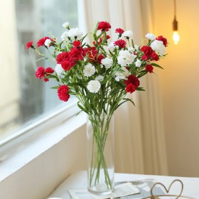 康乃馨仿真花束插花瓶家居装饰花客厅摆设餐桌摆件母亲