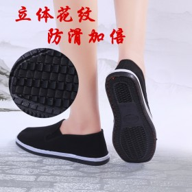 手工縫制休閑低幫千層黑布鞋新款男女士偃師平跟老北京
