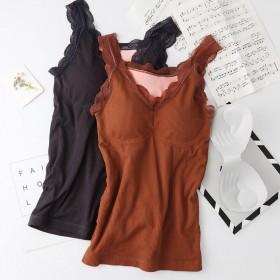 80-170斤秋冬保暖背心女加厚加绒带胸垫内穿蕾丝