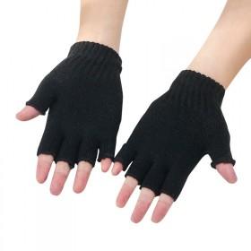 秋冬季新款纯黑色针织毛线半指保暖手套男露指半截工作