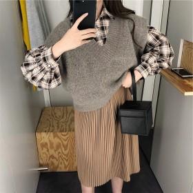冬季新款三件套韩版小清新衬衫毛衣马甲背心连衣裙