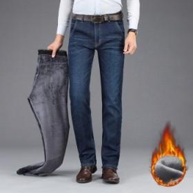 加绒加厚牛仔裤男小直筒中青年商务男士长裤男裤