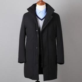 90%白鸭绒时尚休闲加厚中长款羽绒服男士外套