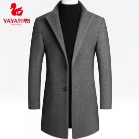 鸭鸭中长款呢子风衣秋冬外套呢大衣修身羊毛呢男装