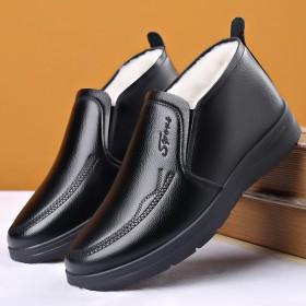 冬季男鞋真皮商務休閑皮鞋加絨保暖棉鞋男士加厚二棉高