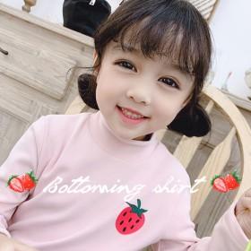 秋冬新款女童半高领打底衫韩版中小童洋气水果T恤上衣