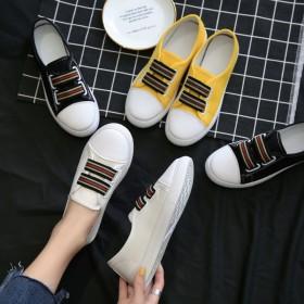 小白鞋女透气帆布鞋新款百搭韩版休闲学生平底板鞋一脚