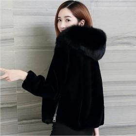 海宁仿羊剪绒连帽大衣女短款韩版仿狐狸毛领皮草外套