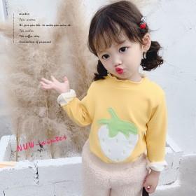女童宝宝加厚百搭上衣冬款中小童套头保暖T恤刺绣草莓