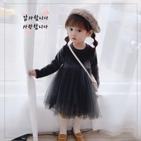 新品童装丝绒裙冬款女加厚加绒连衣裙中小纱裙保暖公主