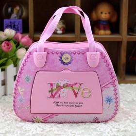 带灯旋转芭蕾舞手提包粉色音乐盒化妆镜包包八音盒