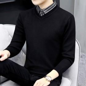 新款假两件毛衣男衬衫领上衣【热卖巨亏冲量】