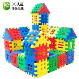 早教启蒙拼插方块房子积木男孩女孩玩具