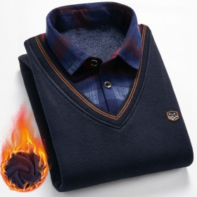 假两件毛衣男加绒加厚打底衫金洋船秋冬季中青年衬衫领