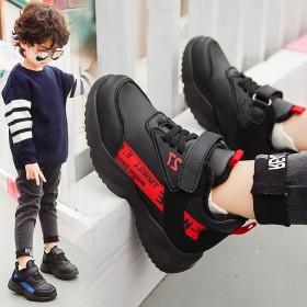 实心底男童运动鞋皮面秋冬款中大童休闲保暖鞋儿童鞋