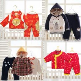婴时代婴儿衣服套装秋冬季保暖外出加厚加棉两件套婴幼