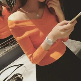 2019长袖T恤女韩版潮女装修身短款打底衫针织