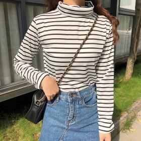 2019秋季新款条纹打底衫韩版高领女装休闲学生