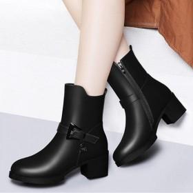 2019冬季新款时装靴短靴女鞋粗跟中筒靴女皮靴中跟