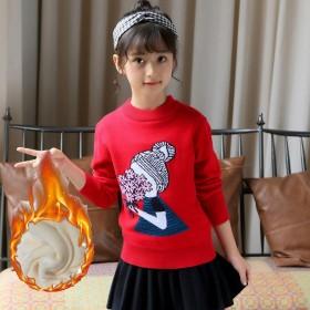 女童长袖童装加绒卫衣童装冬款上衣韩版加厚保暖小孩打