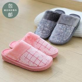 2019加厚秋冬季棉鞋女韩版居家情侣棉拖男防滑室