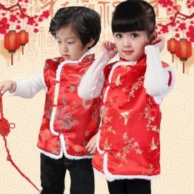 儿童冬季红色中国风棉马甲唐装