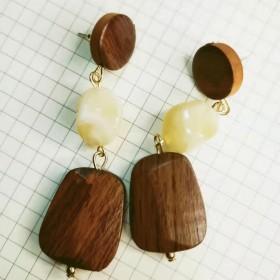 耳环方圆新款潮复古木质几何耳钉女韩国小众设计感长款
