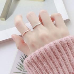 韩版男女情侣钛钢玫瑰金对戒尾戒食指磨砂戒指关节潮人