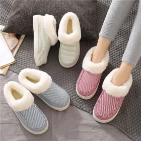 冬季棉鞋男女室外穿包跟毛毛绒情侣防滑加厚底地板月子