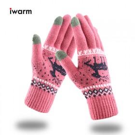 针织毛线触屏手套女保暖加绒情侣冬季手套