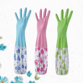 厨房橡胶洗碗手套家庭卫生洗衣服加长束口家务手套加绒