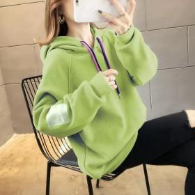 2019秋冬韩版新款加绒加厚连帽套头卫衣女上衣女装