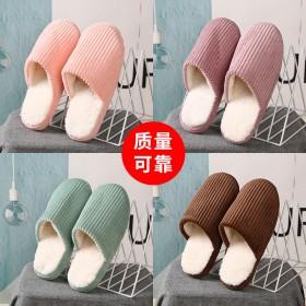 新爆款棉拖鞋少女冬季居家室情侶燈芯絨毛絨防滑厚底室